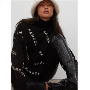 KANGOL Knit Oversized Turtleneck Logo Sweater